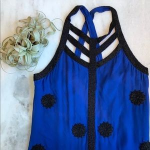 French Connection Blue Beaded Mini Shift Dress